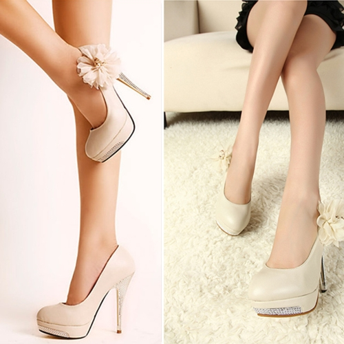 Fashion Women Pumps Flower High Heels Platform Slole Stiletto Heel Court Shoes BeigeApparel &amp; Jewelry<br>Fashion Women Pumps Flower High Heels Platform Slole Stiletto Heel Court Shoes Beige<br>