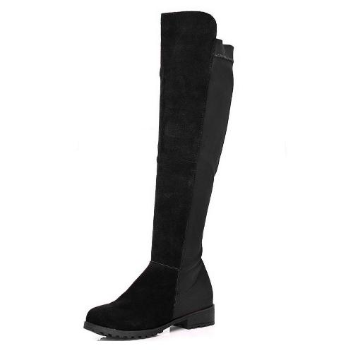 新しい春秋女性ロング ブーツ パッチワーク膝長さ靴ブラック