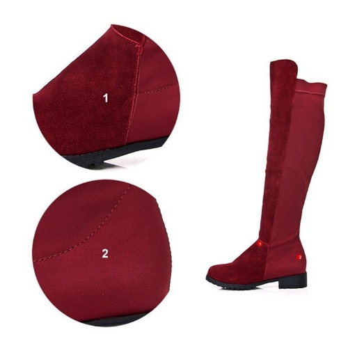 New Spring Autumn Women Long Boots Patchwork Knee Length Shoes BurgundyApparel &amp; Jewelry<br>New Spring Autumn Women Long Boots Patchwork Knee Length Shoes Burgundy<br>