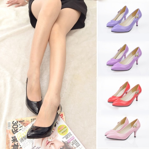 Fashion Women PU Heels Candy Color Low Cut Vamp Pointed Thin Shoes BlackApparel &amp; Jewelry<br>Fashion Women PU Heels Candy Color Low Cut Vamp Pointed Thin Shoes Black<br>