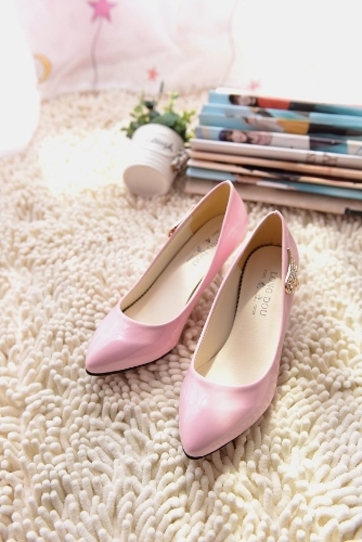 Fashion Women PU Heels Candy Color Low Cut Vamp Pointed Thin Shoes PinkApparel &amp; Jewelry<br>Fashion Women PU Heels Candy Color Low Cut Vamp Pointed Thin Shoes Pink<br>