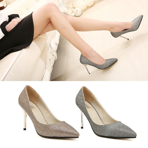 Fashion Women High Heels Pointed Toe Glittering Stilettos Shoes Party Pumps SilverApparel &amp; Jewelry<br>Fashion Women High Heels Pointed Toe Glittering Stilettos Shoes Party Pumps Silver<br>