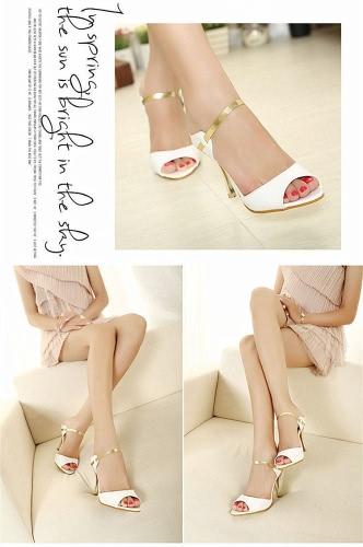Summer Fashion Sexy Women High Heels PU Leather Peep Toe Slingback Shoes Sandals GoldenApparel &amp; Jewelry<br>Summer Fashion Sexy Women High Heels PU Leather Peep Toe Slingback Shoes Sandals Golden<br>