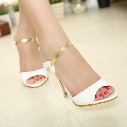 Летняя мода сексуальные женщины высокие каблуки Пу кожа заглянуть ног Slingback обувь Босоножки Белый
