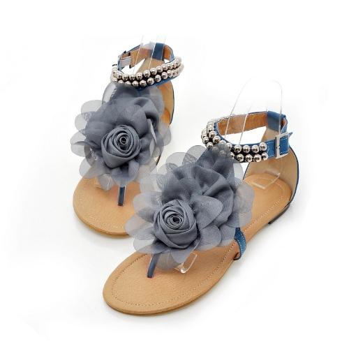 New Summer Women Girls Flats Toe-post Beaded Flower Flip-flop Sandals Shoes BlueApparel &amp; Jewelry<br>New Summer Women Girls Flats Toe-post Beaded Flower Flip-flop Sandals Shoes Blue<br>
