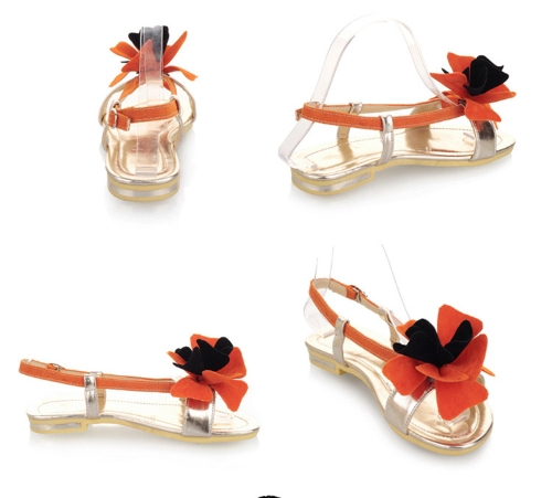 Fashion Summer Women Flat Sandal Slingback Shoes Flats OrangeApparel &amp; Jewelry<br>Fashion Summer Women Flat Sandal Slingback Shoes Flats Orange<br>