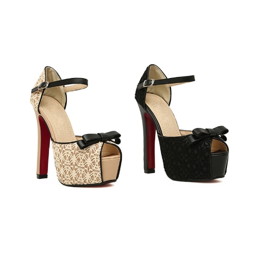 Fashion Women Sandals Lace Bow Peep Toe High Square Heel Ankle Strap Platform Sole Pumps Shoes Beige/BlackApparel &amp; Jewelry<br>Fashion Women Sandals Lace Bow Peep Toe High Square Heel Ankle Strap Platform Sole Pumps Shoes Beige/Black<br>