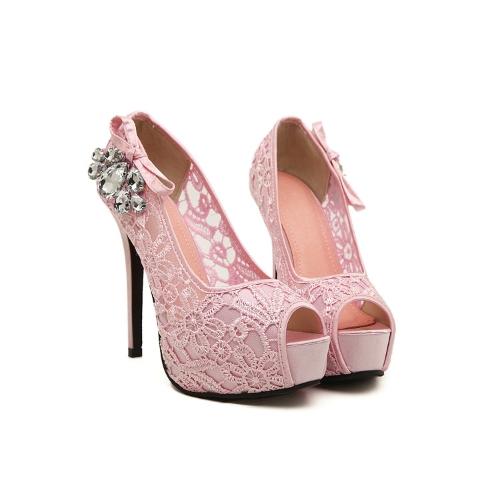 新しいファッション女性ポンプのぞき見つま先スティレット プラットフォーム レース ラインス トーン付きエレガントなハイヒール ベージュ/ピンク