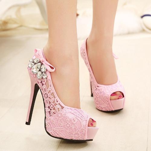 New Fashion Women Pumps Peep Toe Stiletto Platform Lace Rhinestone Elegant High Heels Beige/PinkApparel &amp; Jewelry<br>New Fashion Women Pumps Peep Toe Stiletto Platform Lace Rhinestone Elegant High Heels Beige/Pink<br>
