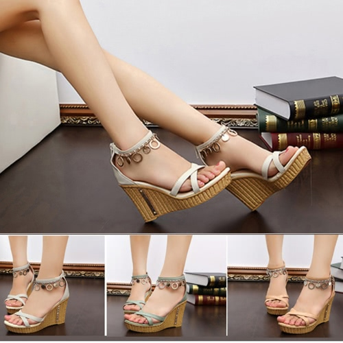 Summer Women Sandals High Wedges PU Leather Cross-over Strap Shoes GreenApparel &amp; Jewelry<br>Summer Women Sandals High Wedges PU Leather Cross-over Strap Shoes Green<br>