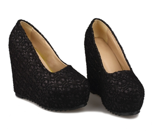 New Sexy Women Wedges Glittering Lace Platform Sole Heeled Shoes Pumps Black &amp; Closed ToeApparel &amp; Jewelry<br>New Sexy Women Wedges Glittering Lace Platform Sole Heeled Shoes Pumps Black &amp; Closed Toe<br>