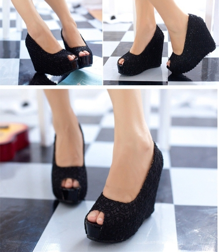 New Sexy Women Wedges Glittering Lace Platform Sole Heeled Shoes Pumps Black &amp; Open ToeApparel &amp; Jewelry<br>New Sexy Women Wedges Glittering Lace Platform Sole Heeled Shoes Pumps Black &amp; Open Toe<br>