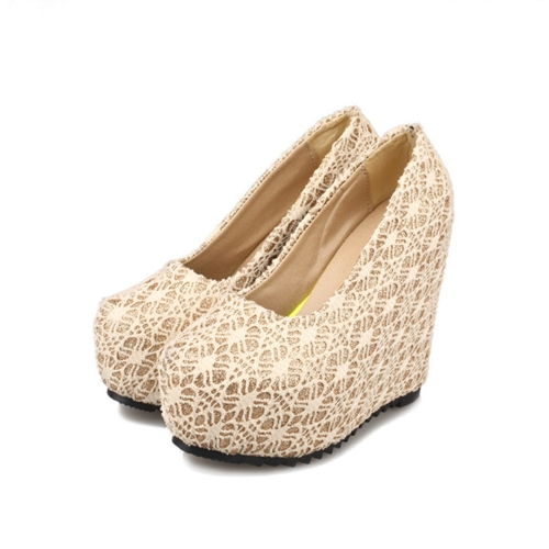 New Sexy Women Wedges Glittering Lace Platform Sole Heeled Shoes Pumps Beige &amp; Closed ToeApparel &amp; Jewelry<br>New Sexy Women Wedges Glittering Lace Platform Sole Heeled Shoes Pumps Beige &amp; Closed Toe<br>