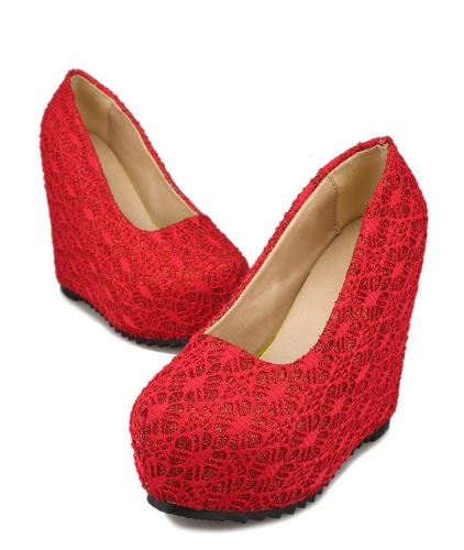 New Sexy Women Wedges Glittering Lace Platform Sole Heeled Shoes Pumps Red &amp; Closed ToeApparel &amp; Jewelry<br>New Sexy Women Wedges Glittering Lace Platform Sole Heeled Shoes Pumps Red &amp; Closed Toe<br>