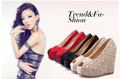 New Sexy Women Wedges Glittering Lace Platform Sole Heeled Shoes Pumps Red &amp; Open ToeApparel &amp; Jewelry<br>New Sexy Women Wedges Glittering Lace Platform Sole Heeled Shoes Pumps Red &amp; Open Toe<br>