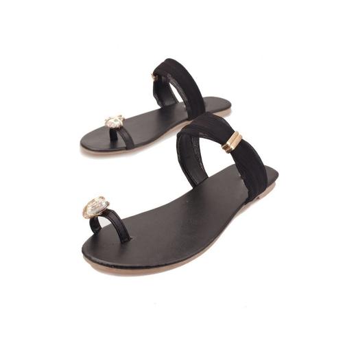 新しい夏の女性女の子フラット ラインス トーンつま先ポスト フリップフ ロップ サンダル靴ブラック