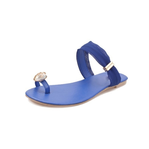New Summer Women Girls Flats Rhinestone Toe-post Flip-flop Sandals Shoes BlueApparel &amp; Jewelry<br>New Summer Women Girls Flats Rhinestone Toe-post Flip-flop Sandals Shoes Blue<br>