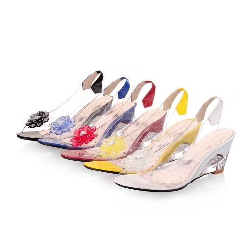 Fashion Women Transparent Sandals Wedge Heel Peep Toe Flower Rhinestones Pumps ShoesApparel &amp; Jewelry<br>Fashion Women Transparent Sandals Wedge Heel Peep Toe Flower Rhinestones Pumps Shoes<br>