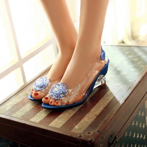 ファッション女性透明サンダル ウェッジ ヒールのぞき見つま先花ラインス トーン ポンプ靴