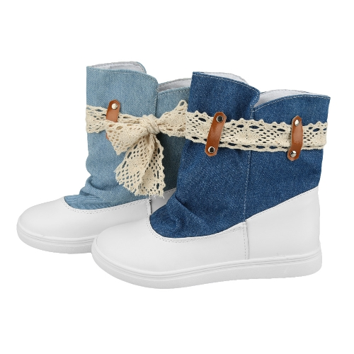 New Fashion Women Flat Boots Lace Knot Denim Patchwork Slip On Round Toe Casual Bootie Shoes Blue/ Dark BlueApparel &amp; Jewelry<br>New Fashion Women Flat Boots Lace Knot Denim Patchwork Slip On Round Toe Casual Bootie Shoes Blue/ Dark Blue<br>
