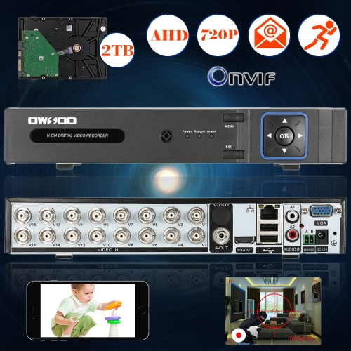 OWSOO 16CH Channel Full 720P AHD DVR HVR NVR H.264 HD P2P Cloud Network Onvif Digital Video Recorder + 2TB Hard Disk support AudioSmart Device &amp; Safety<br>OWSOO 16CH Channel Full 720P AHD DVR HVR NVR H.264 HD P2P Cloud Network Onvif Digital Video Recorder + 2TB Hard Disk support Audio<br>