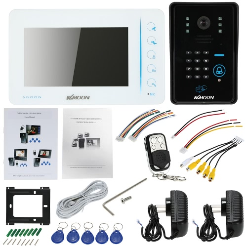 """KKmoon 7"""" Wired Video Door Phone System Touch Button Visual Intercom Doorbell with 1*800x480 Indoor Monitor + 1*700TVL Outdoor CamSmart Device &amp; Safety<br>KKmoon 7"""" Wired Video Door Phone System Touch Button Visual Intercom Doorbell with 1*800x480 Indoor Monitor + 1*700TVL Outdoor Cam<br>"""