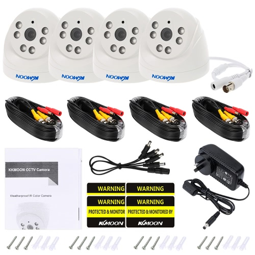 KKmoon  4*720P 1500TVL AHD Indoor Doom CCTV Camera + 4*60ft Surveillance Cable Support IR-CUT Night View 6pcs Array Infrared LampsSmart Device &amp; Safety<br>KKmoon  4*720P 1500TVL AHD Indoor Doom CCTV Camera + 4*60ft Surveillance Cable Support IR-CUT Night View 6pcs Array Infrared Lamps<br>