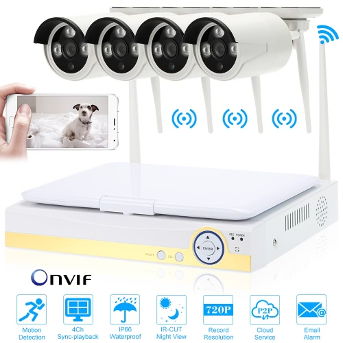 OWSOO 10.1 4CH 720P HD WiFi NVR Kit with 4pcs 1.0MP  IP CameraSmart Device &amp; Safety<br>OWSOO 10.1 4CH 720P HD WiFi NVR Kit with 4pcs 1.0MP  IP Camera<br>
