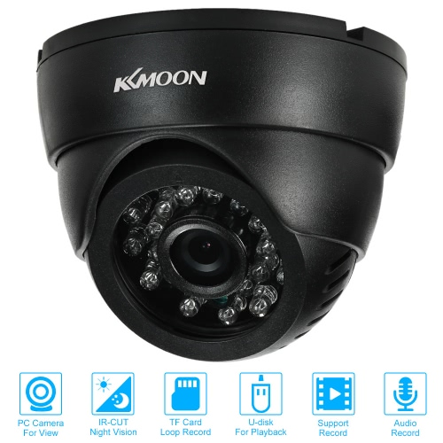 KKmoon® CCTV Security Surveillance Indoor Dome Camera USB Disk PC Cam support Audio TF Card Loop Record Infrared Night Vision 0.3MSmart Device &amp; Safety<br>KKmoon® CCTV Security Surveillance Indoor Dome Camera USB Disk PC Cam support Audio TF Card Loop Record Infrared Night Vision 0.3M<br>