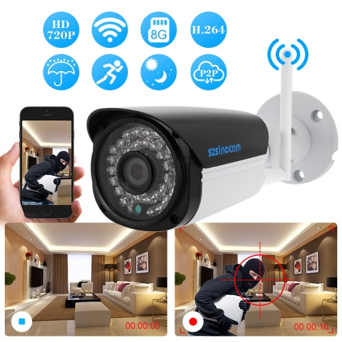 szsinocam  720P Wireless WIFI HD Bullet IP Camera 1.0MP 36 IR LEDS 1/4'' CMOS H.264 P2P Waterproof Built-in 8G TF Card Support MotSmart Device &amp; Safety<br>szsinocam  720P Wireless WIFI HD Bullet IP Camera 1.0MP 36 IR LEDS 1/4'' CMOS H.264 P2P Waterproof Built-in 8G TF Card Support Mot<br>