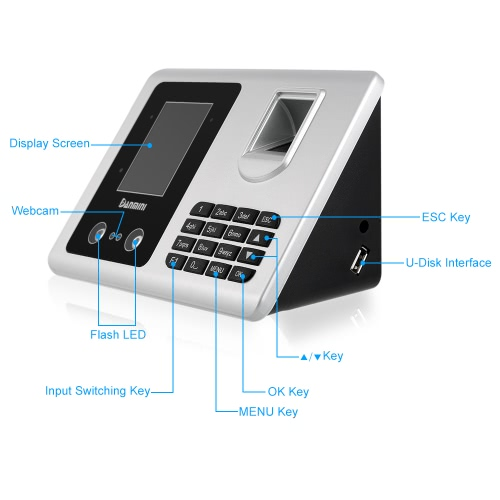DANMINI  2.8 TFT LCD Display Facial Recognition + Fingerprint Attendance Biometric Access Control System USB Free Software EmploySmart Device &amp; Safety<br>DANMINI  2.8 TFT LCD Display Facial Recognition + Fingerprint Attendance Biometric Access Control System USB Free Software Employ<br>