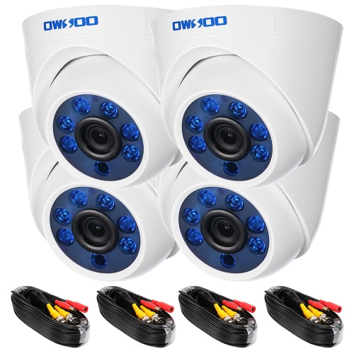OWSOO 4*720P 1500TVL AHD Indoor Dome CCTV Camera + 4*60ft Surveillance Cable Support IR-CUT Night View 6pcs Array Infrared Lamps 1Smart Device &amp; Safety<br>OWSOO 4*720P 1500TVL AHD Indoor Dome CCTV Camera + 4*60ft Surveillance Cable Support IR-CUT Night View 6pcs Array Infrared Lamps 1<br>