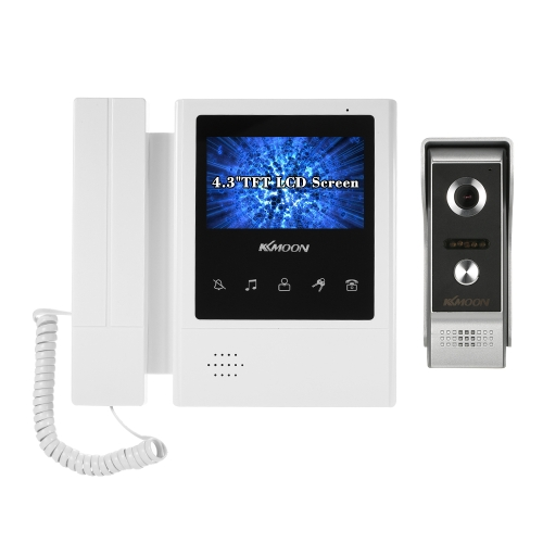KKmoon 4.3 Inch LCD Monitor Wired Video Intercom Doorbell Kits Support Night Vision Camera Two-way Audio Rainproof for Video Door Phone Intercom System