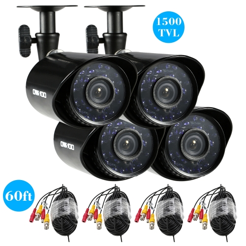 OWSOO 4*1500TVL Outdoor/Indoor Bullet Security CCTV Camera + 4*60ft Surveillance Cable support Weatherproof IR-CUT Night View PlugSmart Device &amp; Safety<br>OWSOO 4*1500TVL Outdoor/Indoor Bullet Security CCTV Camera + 4*60ft Surveillance Cable support Weatherproof IR-CUT Night View Plug<br>