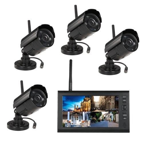 """ワイヤレス2.4GHz 7 """"TFTデジタルLCDディスプレイモニター4チャンネルDVRセキュリティシステム+ 4 IRナイトビジョン防水カメラ"""