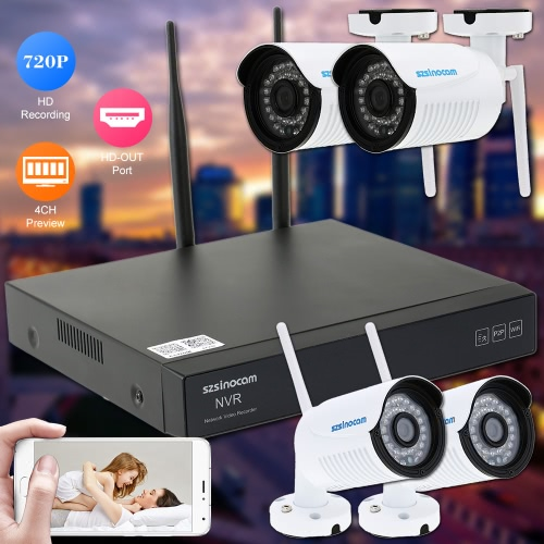 szsinocam 4CH H.264 Wireless WiFi NVR Kit CCTV Security System with 4pcs HD 720P Surveillance IP CameraSmart Device &amp; Safety<br>szsinocam 4CH H.264 Wireless WiFi NVR Kit CCTV Security System with 4pcs HD 720P Surveillance IP Camera<br>