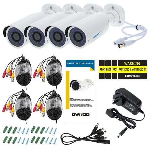 OWSOO 4pcs AHD 720P 1500TVL Security CCTV Camera + 4*60ft Surveillance Cable Outdoor Weatherproof IR-CUT Night ViewSmart Device &amp; Safety<br>OWSOO 4pcs AHD 720P 1500TVL Security CCTV Camera + 4*60ft Surveillance Cable Outdoor Weatherproof IR-CUT Night View<br>
