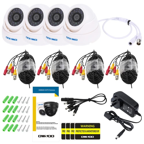 OWSOO 800TVL CCTV Security Surveillance Kit 4*Indoor Camera + 4*60ft Cable 3.6mm 24LEDs IR-CUT Night View Plug and Play (Power PluSmart Device &amp; Safety<br>OWSOO 800TVL CCTV Security Surveillance Kit 4*Indoor Camera + 4*60ft Cable 3.6mm 24LEDs IR-CUT Night View Plug and Play (Power Plu<br>