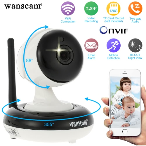 Wanscam® Wireless 720P Pan Tilt IP Camera WIFI Indoor Security Night Vision Support Max 128GB TF Card Record HW0049Smart Device &amp; Safety<br>Wanscam® Wireless 720P Pan Tilt IP Camera WIFI Indoor Security Night Vision Support Max 128GB TF Card Record HW0049<br>