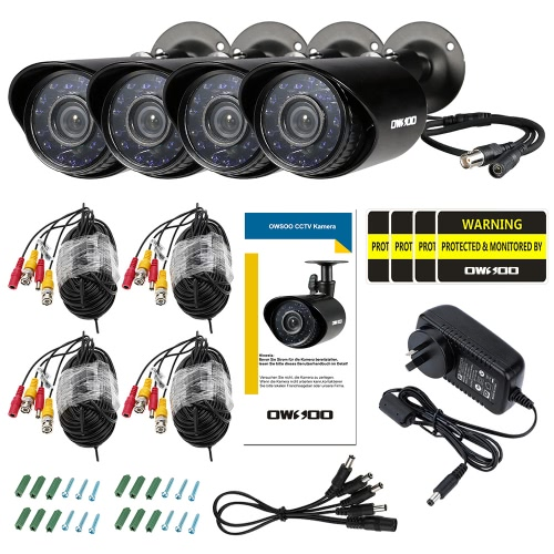 OWSOO 4*800TVL Outdoor/Indoor Bullet Security CCTV Camera + 4*60ft Surveillance Cable support Weatherproof IR-CUT Night View PlugSmart Device &amp; Safety<br>OWSOO 4*800TVL Outdoor/Indoor Bullet Security CCTV Camera + 4*60ft Surveillance Cable support Weatherproof IR-CUT Night View Plug<br>