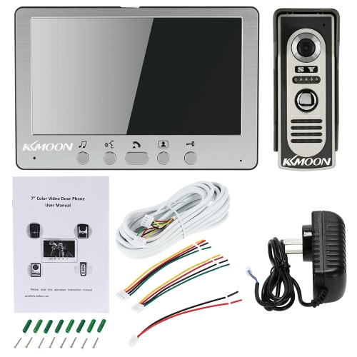 """KKmoon 7"""" Wired Video Door Phone System Visual Intercom Doorbell Alloy Panel with 1*800x480 Indoor Monitor + 1*700TVL Outdoor CameSmart Device &amp; Safety<br>KKmoon 7"""" Wired Video Door Phone System Visual Intercom Doorbell Alloy Panel with 1*800x480 Indoor Monitor + 1*700TVL Outdoor Came<br>"""