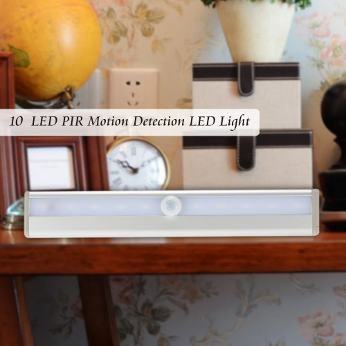 KKmoon  10 LED Auto PIR Human Motion Induction Detector Light Bar Wireless Cabinet Wardrobe Closet Sensor Wall Night Lamp White LiSmart Device &amp; Safety<br>KKmoon  10 LED Auto PIR Human Motion Induction Detector Light Bar Wireless Cabinet Wardrobe Closet Sensor Wall Night Lamp White Li<br>