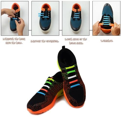 12Pcs Fashion Lazy Silicone Elastic Shoelace No Tie Trend Sports Sickle Shape Shoe LacesApparel &amp; Jewelry<br>12Pcs Fashion Lazy Silicone Elastic Shoelace No Tie Trend Sports Sickle Shape Shoe Laces<br>