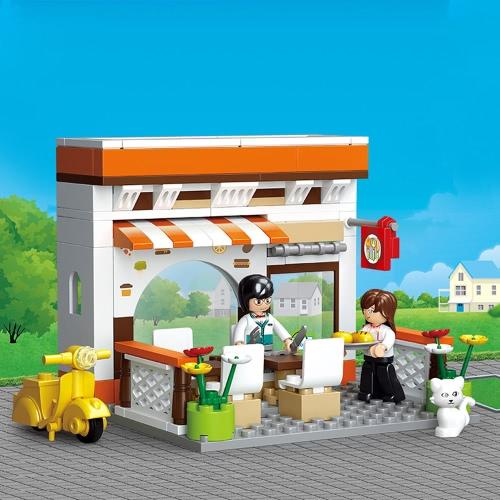 Sluban M38-B0567 134pcs子供のためのレストランタウンシリーズビルブリック建設玩具