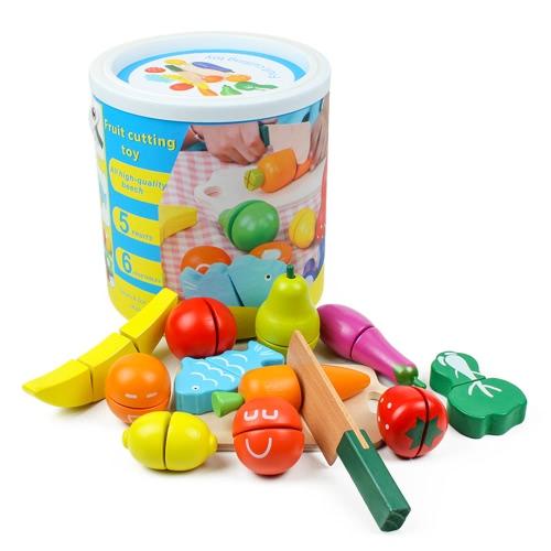 木製のキッチンのおもちゃ果物の野菜のカラフルなふりをする遊ぶ赤ちゃんのパズルのおもちゃ子供早期の教育マジックステッカー