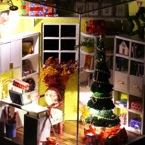 DIY House Miniature Kit Dollhouse Creative Room with Furniture LED Glass Ball Voice Control Switch for Christmas Romantic Kids GifToys &amp; Hobbies<br>DIY House Miniature Kit Dollhouse Creative Room with Furniture LED Glass Ball Voice Control Switch for Christmas Romantic Kids Gif<br>