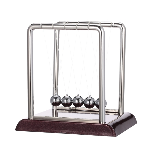 Classic Newtons Cradle Balance Balls Science Fun Desktop Toy with Red Wooden BaseToys &amp; Hobbies<br>Classic Newtons Cradle Balance Balls Science Fun Desktop Toy with Red Wooden Base<br>