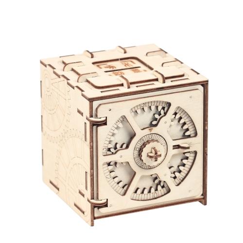 Пазл для хранения деревянных ящиков для хранения денег Коробка для кодов Дизайн Механический привод DIY Craft Assembly Дети Обучающие комплекты игрушек для игрушек Стиль 2