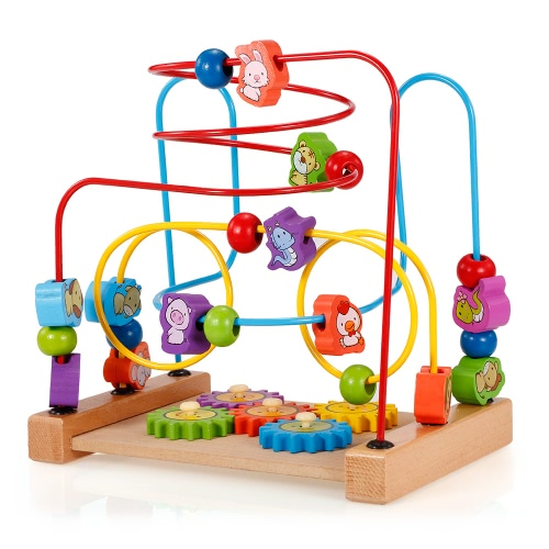 Multipurpose Classic Wooden Beads Game Gear and Zodiac Pattern Activity Cube Educational Wood Toys for KidsToys &amp; Hobbies<br>Multipurpose Classic Wooden Beads Game Gear and Zodiac Pattern Activity Cube Educational Wood Toys for Kids<br>