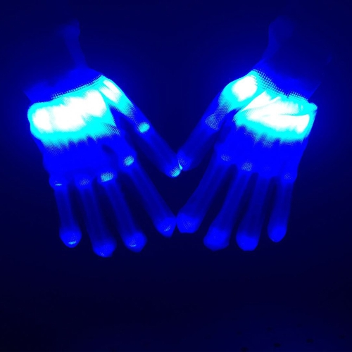 1 Pair of Colorful LED Luminous Gloves Rave Lighting Flashing Finger Glove Unisex Skeleton Dancing Club Props Party Style 3